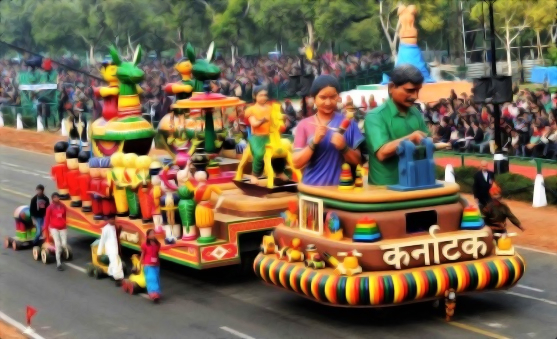 Karnataka's tableau displaying Channapatna Toys at Republic Day Parade in New Delhi (PC - www.gounesco.com)