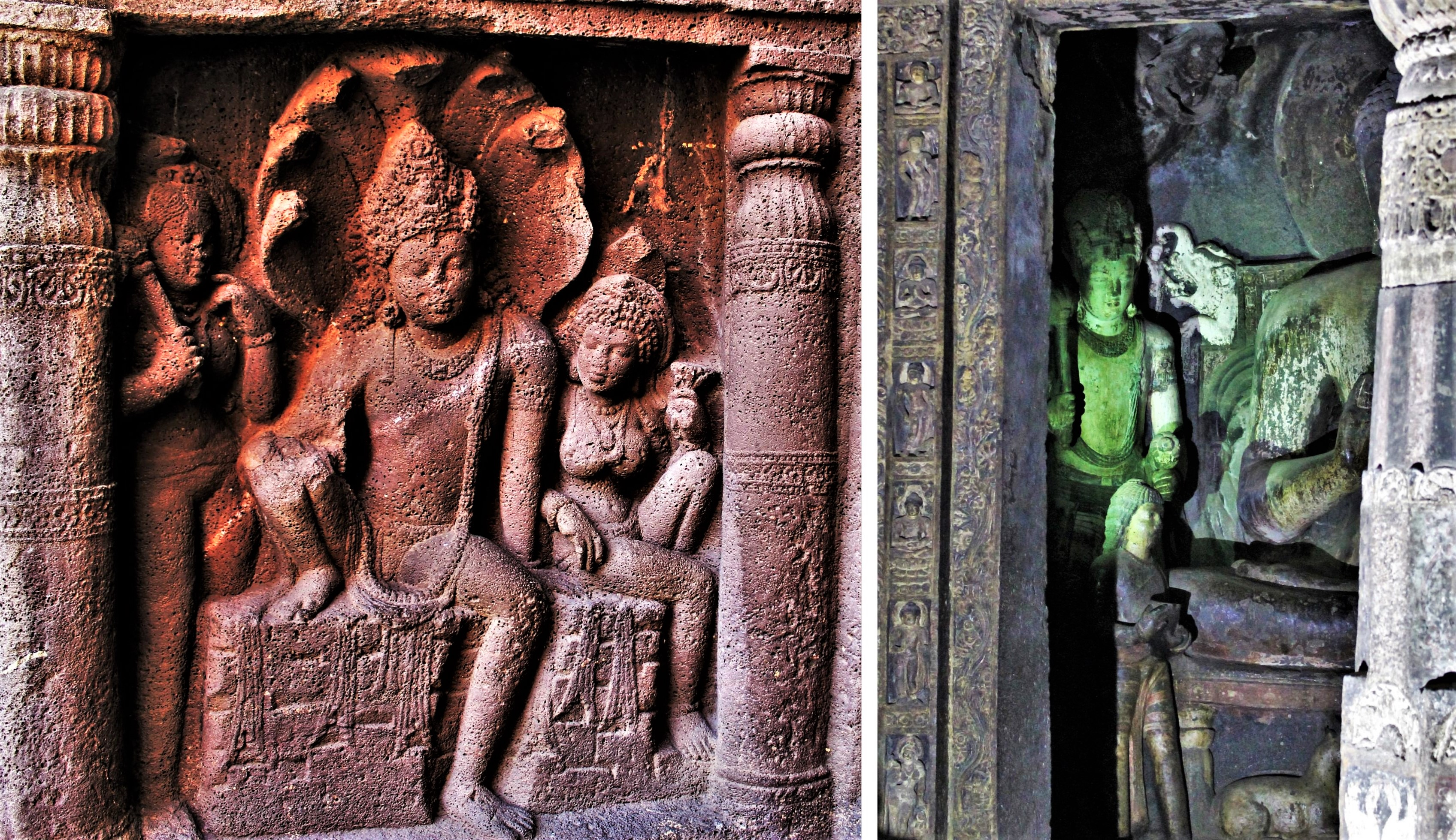 Left: Sculpture of Nagaraja and his wife; Right: Sculpture of Buddha offering begging bowl to his son Rahula (Cave 19)