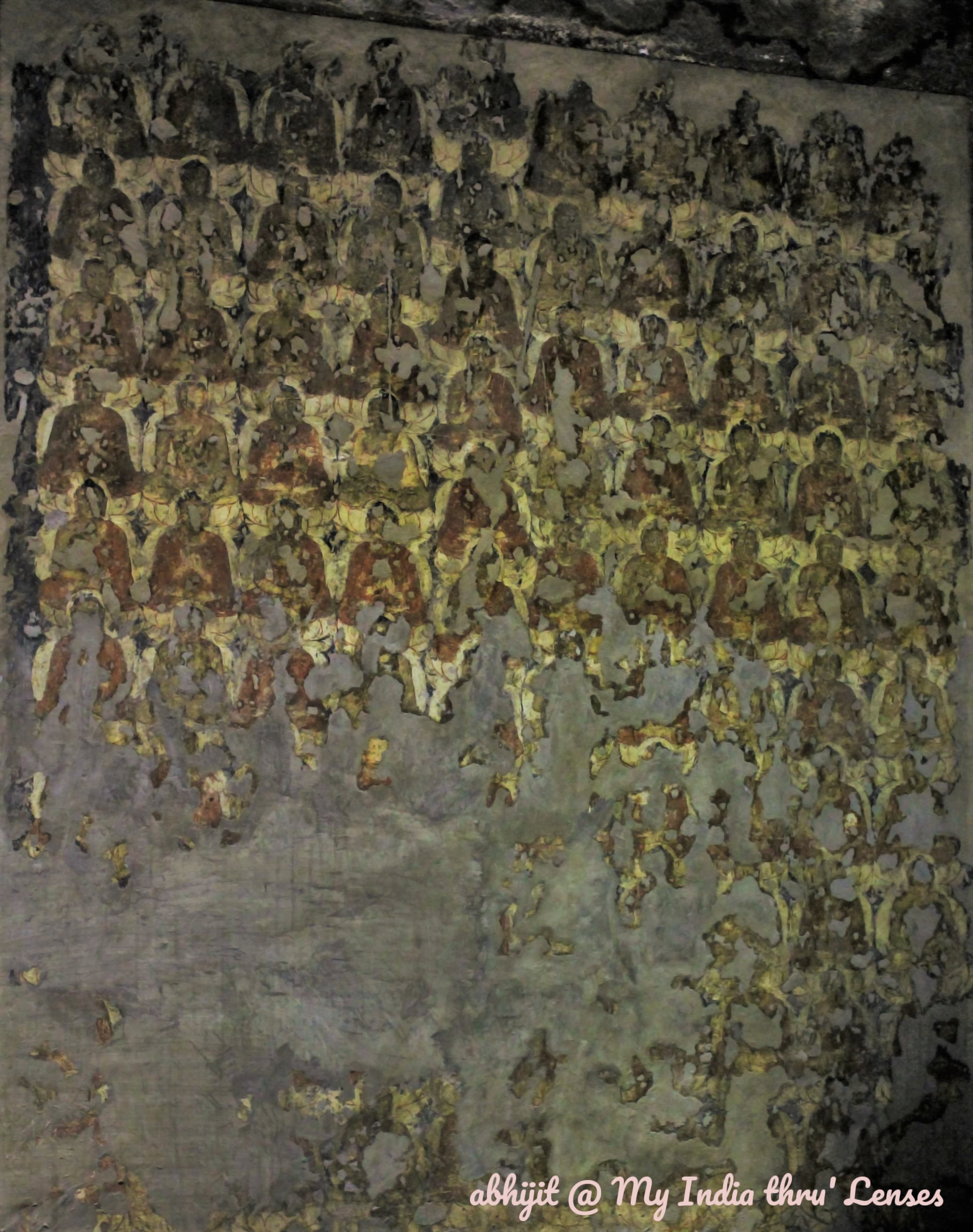 Part of the painting of 'Thousand Buddhas' on one of the walls of Cave 2