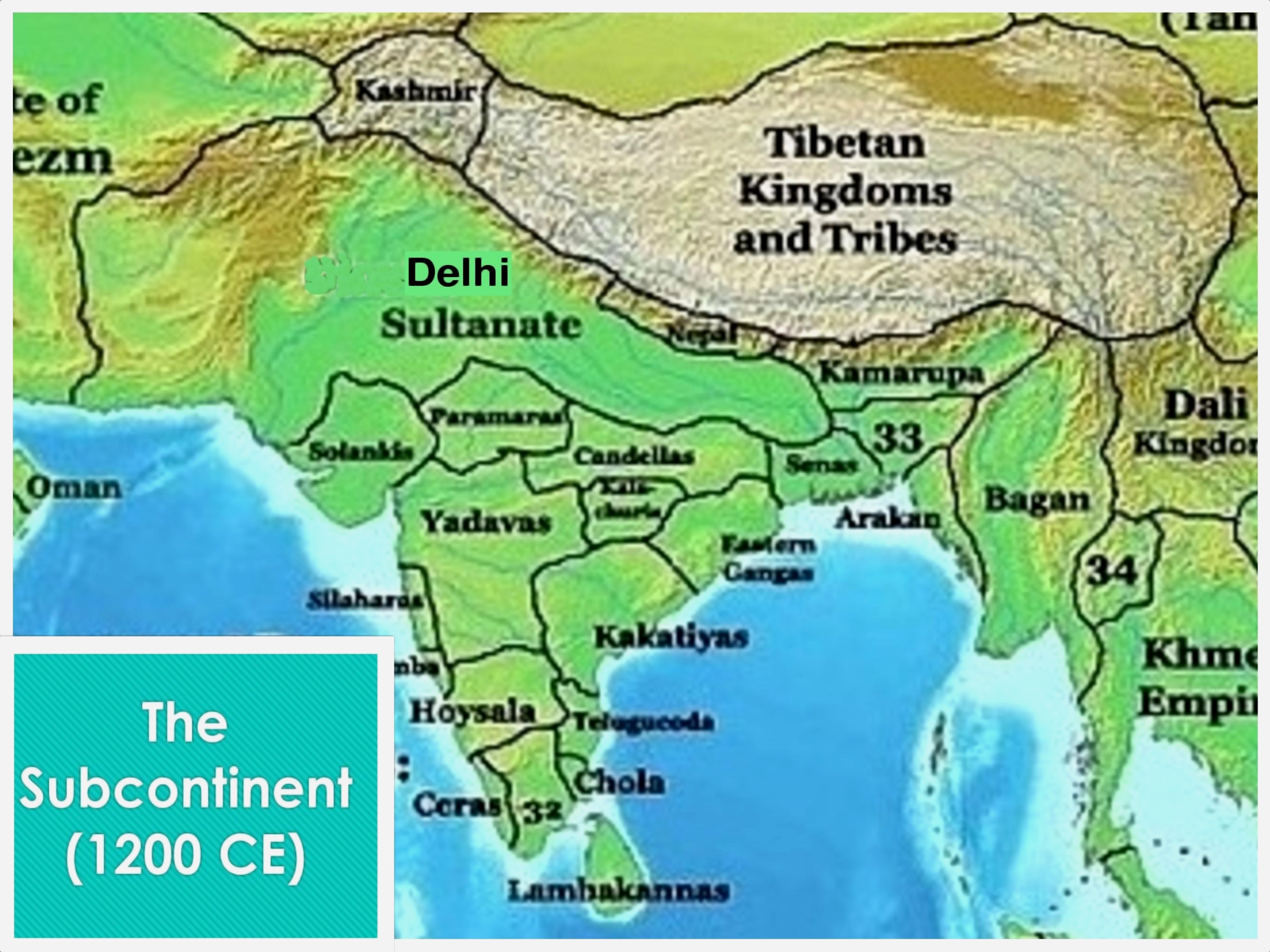 Indian Subcontinent in 1200 CE, showing the Yadava Dynasty and its neighbors