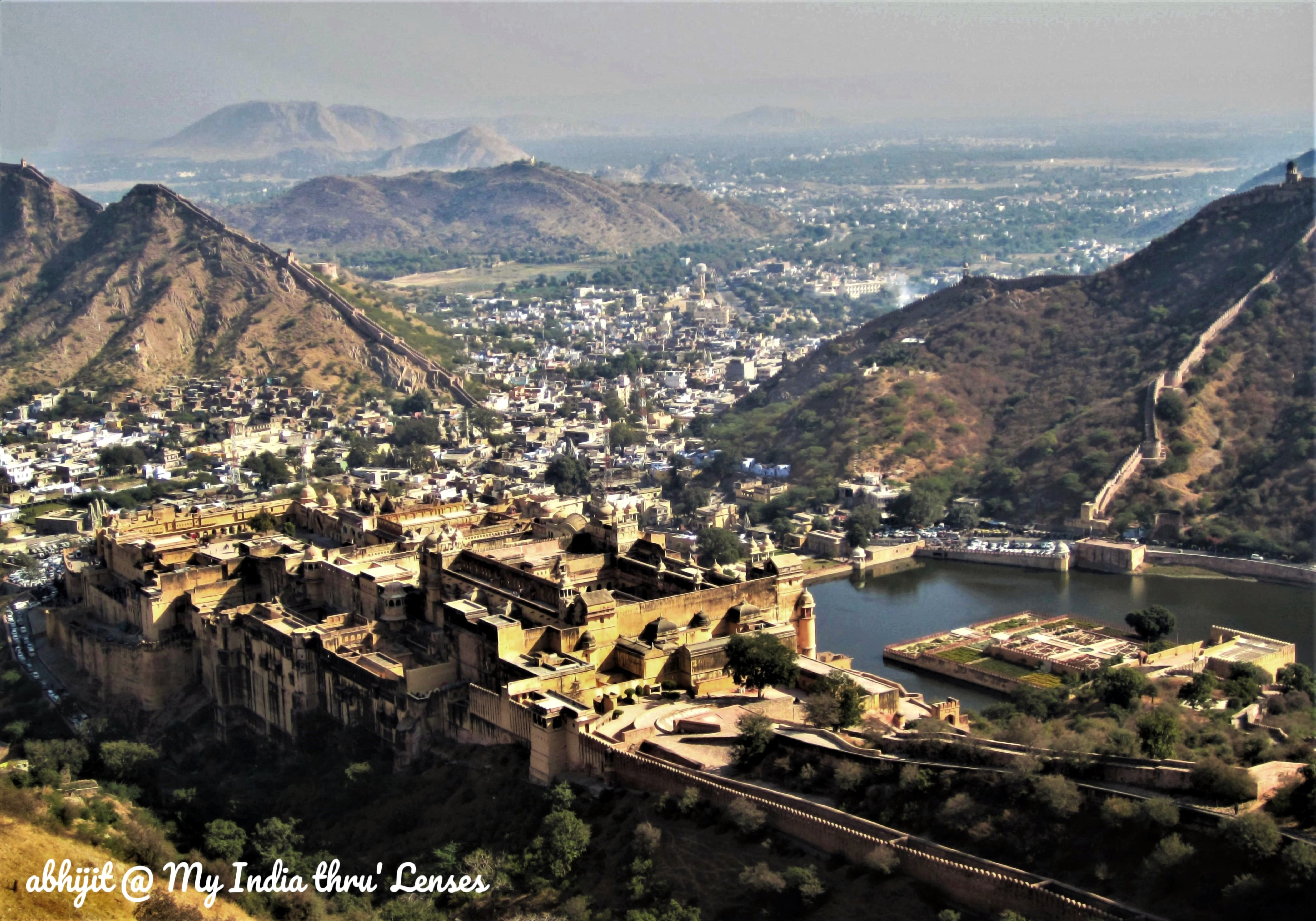 View of Amber Fort & Maota Lake from the top of Jaigarh Fort