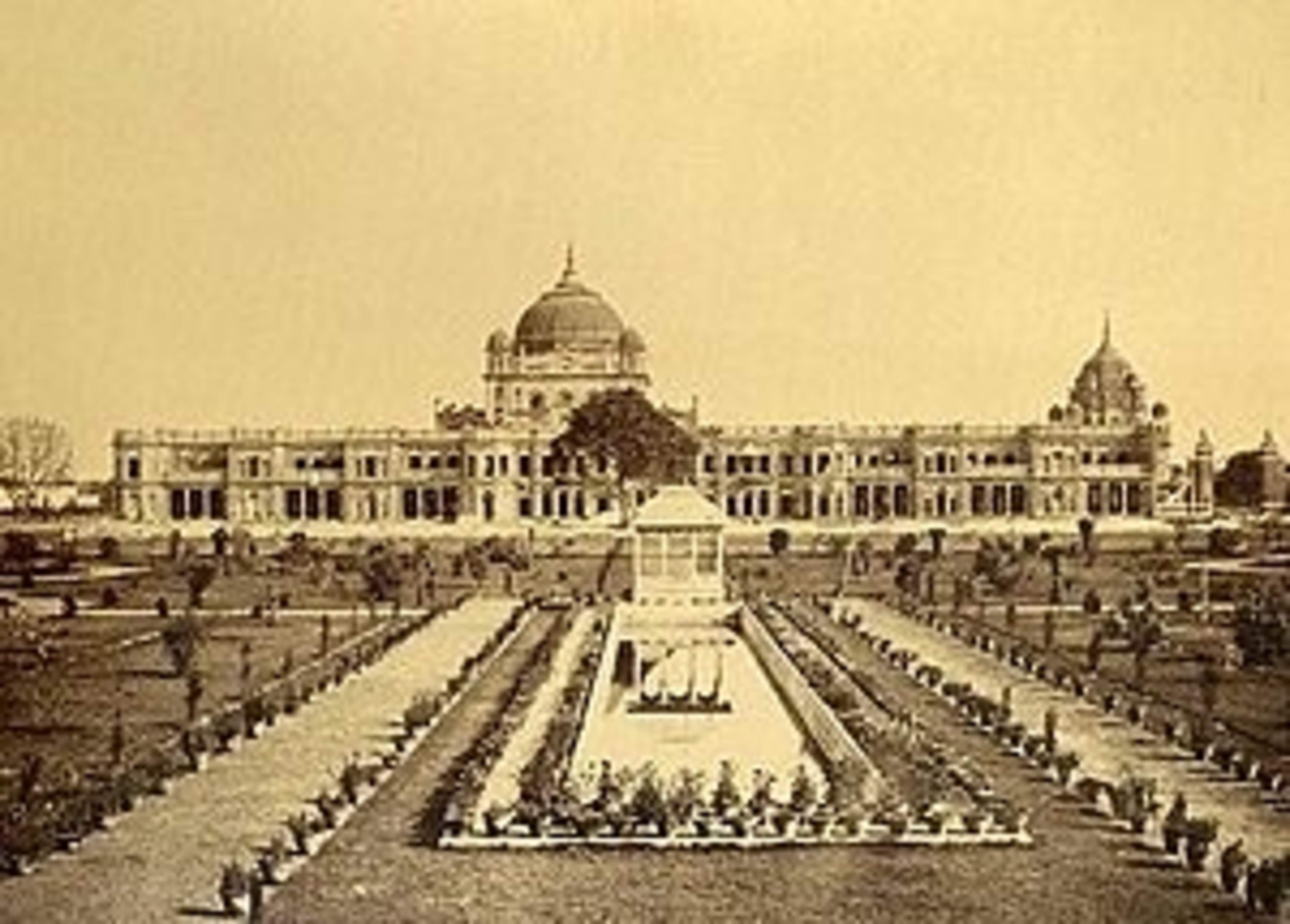 Kaiser Bagh Palace, the palace of Wajid Ali Shah (photograph taken between 1865 and 1882, wikipedia)