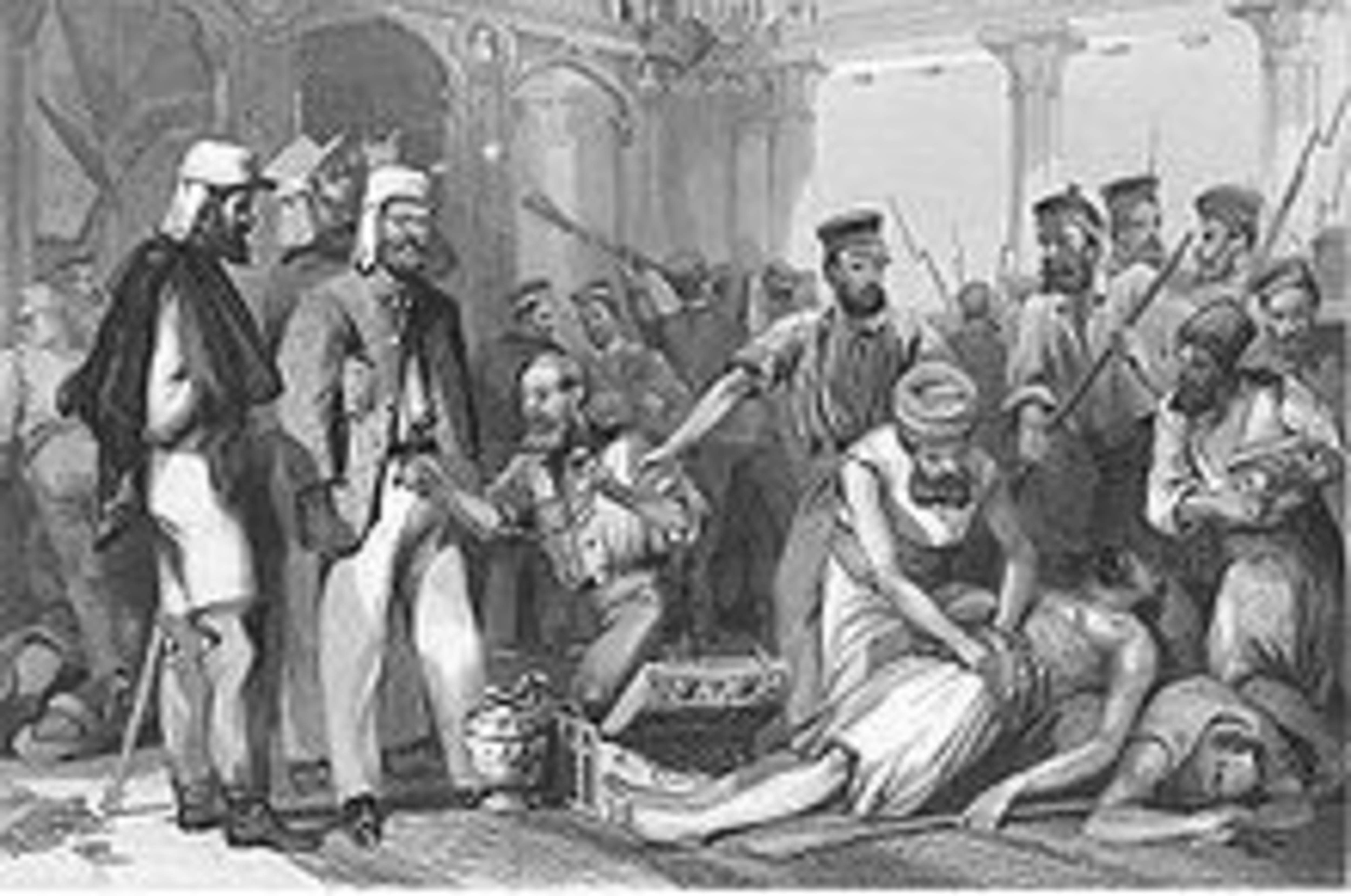 British soldiers looting Kaiser Bagh after its recapture, steel engraving, late 1850s (wikipedia)